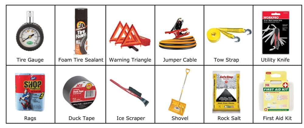 Car Emergency Kit items