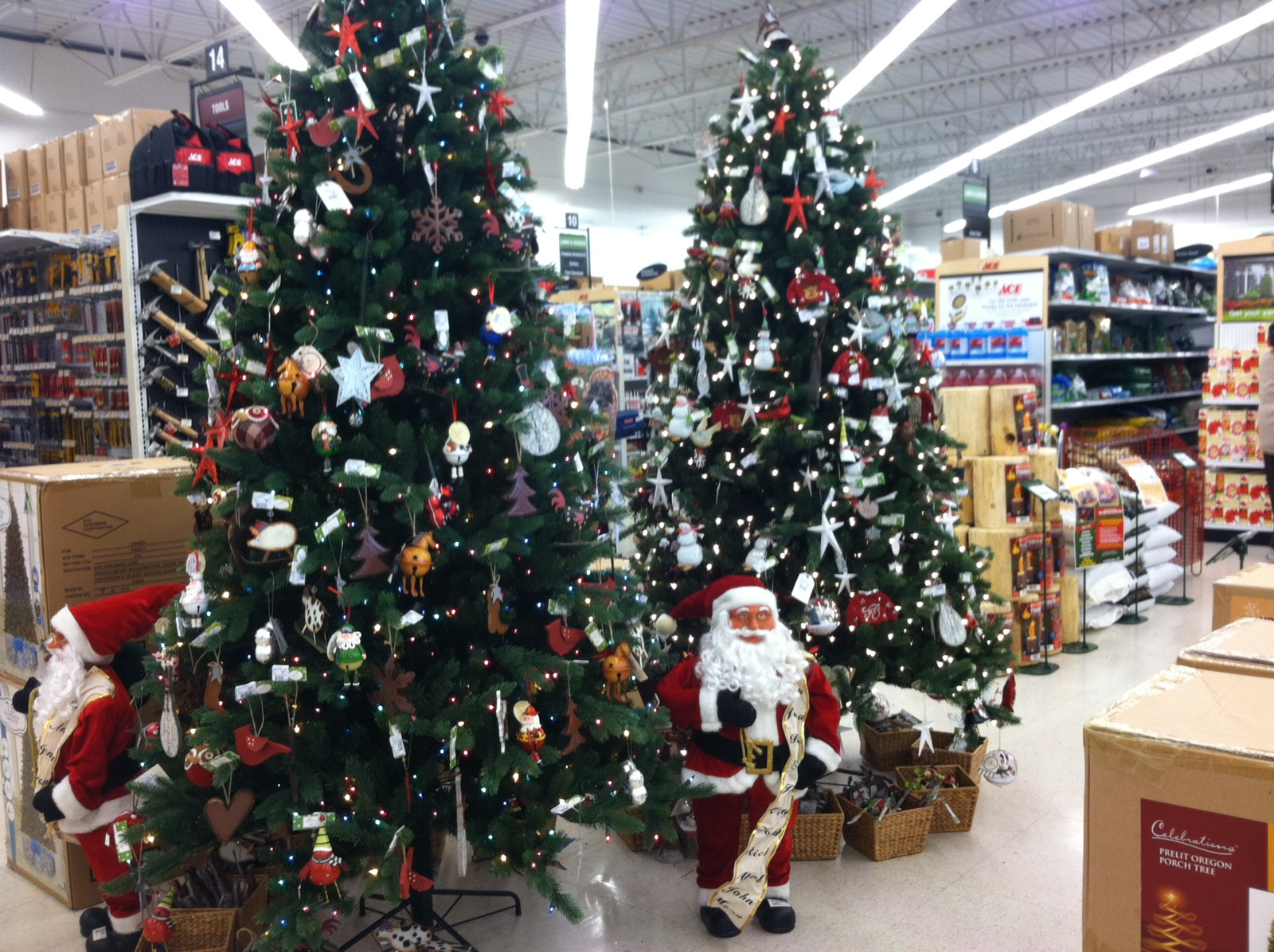 santa decorations santa decorations artificial christmas trees - Christmas Tree With Lights And Decorations