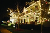 These traditional, Victorian-style, wood-siding homes are beautifully and tastefully decorated for the Holiday Season. Please view my portfolio for other Christmas Lights images.